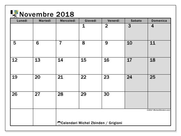Calendari novembre 2018, con giorini festivi del Cantone dei Grigioni. Calendario mensile da stampare gratuitamente.