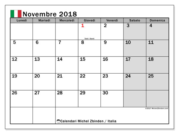 calendario novembre 2018 italia michel zbinden it. Black Bedroom Furniture Sets. Home Design Ideas