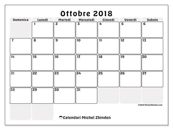 Calendario ottobre 2018 (44DS). Calendario gratuito da stampare.