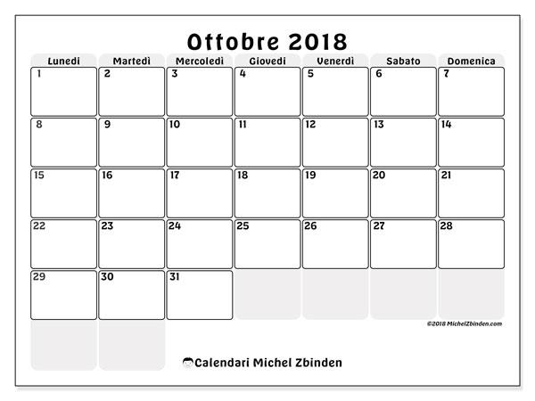 Calendario ottobre 2018 (44LD). Calendario da stampare gratis.