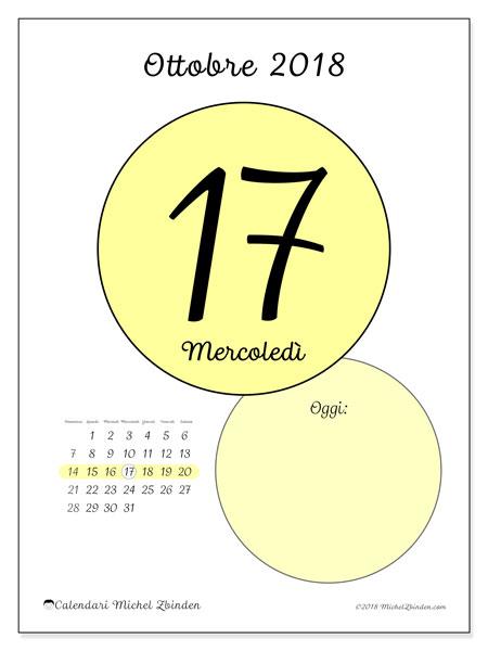 Calendario ottobre 2018 (45-17DS). Calendario per il giorno da stampare gratuitamente.