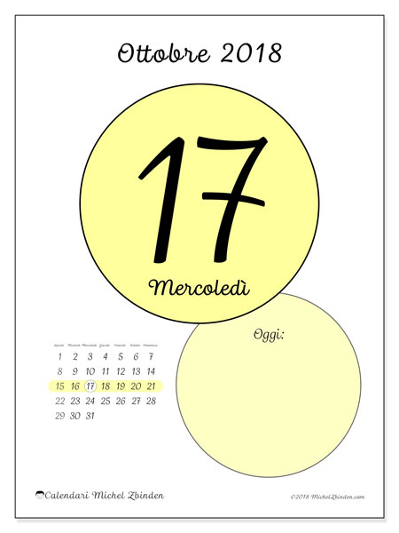Calendario ottobre 2018 (45-17LD). Calendario per il giorno da stampare gratuitamente.