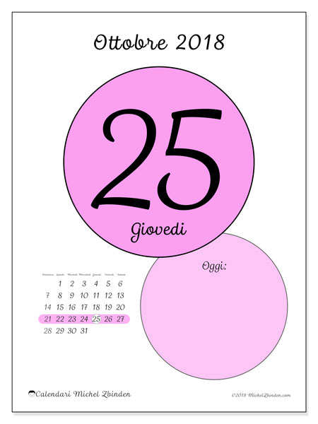 Calendario ottobre 2018 (45-25DS). Calendario per il giorno da stampare gratuitamente.