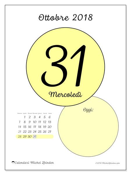 Calendario ottobre 2018 (45-31DS). Calendario giornaliero da stampare gratuitamente.