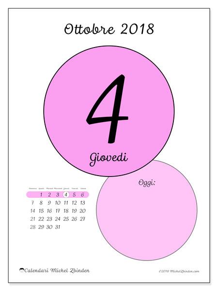 Calendario ottobre 2018 (45-4DS). Calendario per il giorno da stampare gratuitamente.