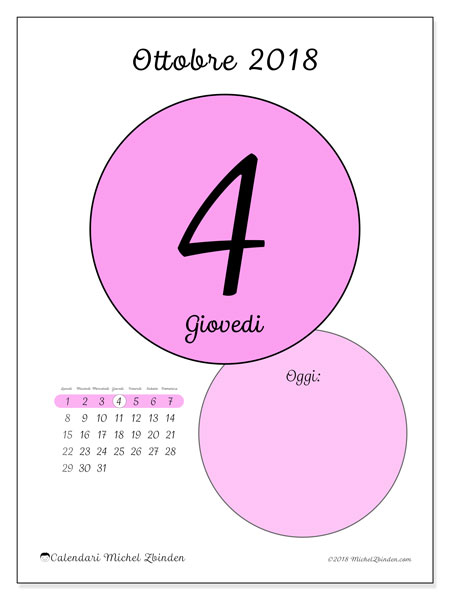 Calendario ottobre 2018 (45-4LD). Calendario giornaliero da stampare gratuitamente.