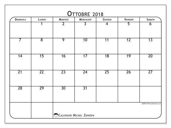 Calendario ottobre 2018 (51DS). Orario da stampare gratis.