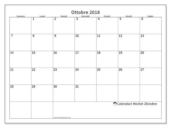Calendario ottobre 2018 (53DS). Calendario stampabile gratuito.