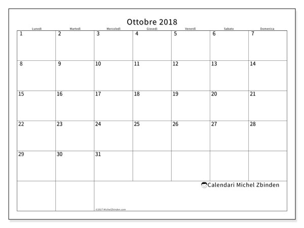 Calendario ottobre 2018 (53LD). Calendario mensile da stampare gratuitamente.