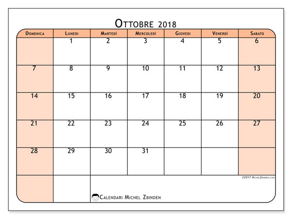 Calendario ottobre 2018 (61DS). Calendario da stampare gratis.