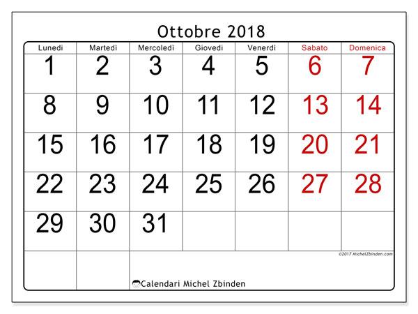 Calendario ottobre 2018 (62LD). Calendario da stampare gratis.