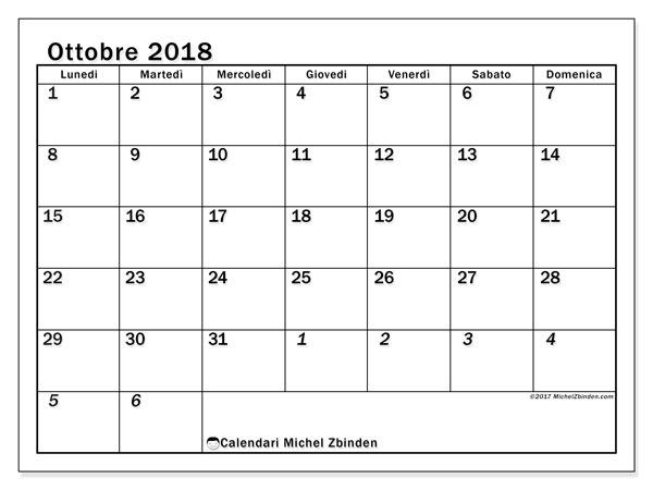 Calendario ottobre 2018 (66LD). Calendario gratuito da stampare.