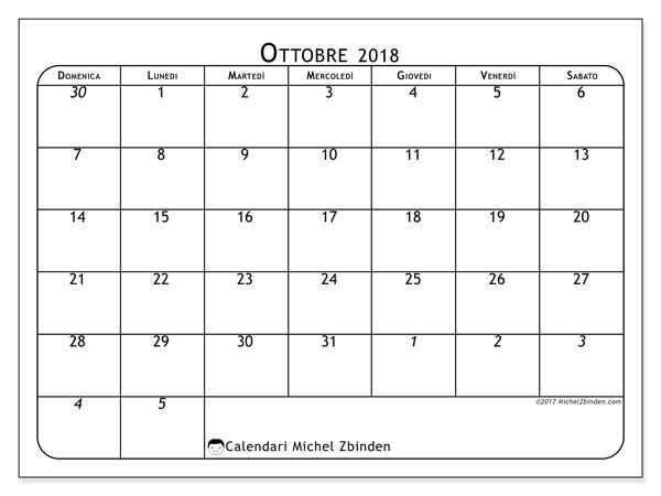 Calendario ottobre 2018 (67DS). Calendario da stampare gratis.