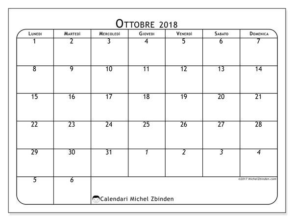 Calendario ottobre 2018 (67LD). Orario da stampare gratis.