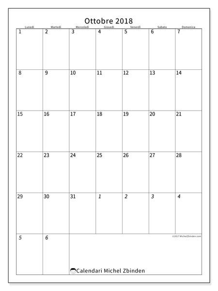 Calendario ottobre 2018 (68LD). Calendario stampabile gratuito.