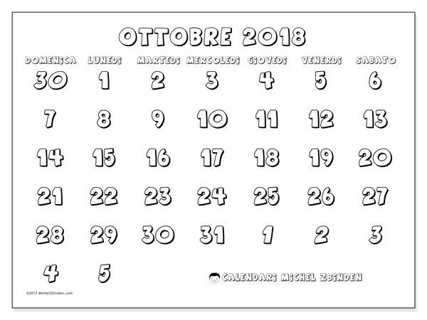 Calendario ottobre 2018 (71DS). Calendario mensile da stampare gratuitamente.