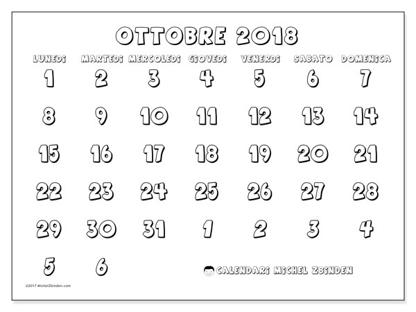 Calendario ottobre 2018 (71LD). Calendario per la stampa gratis.