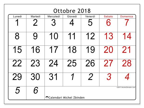 Calendario ottobre 2018 (72LD). Orario da stampare gratis.