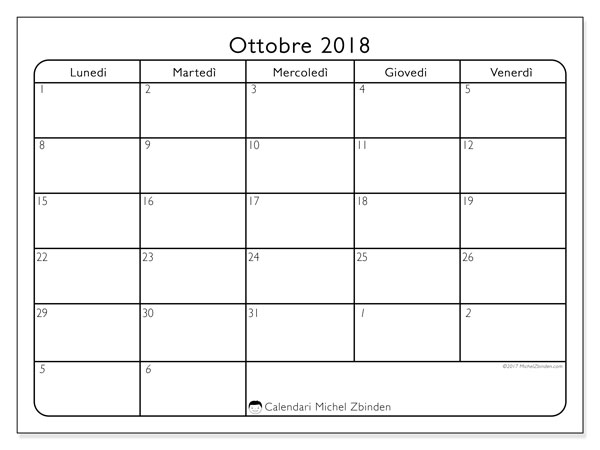 Calendario ottobre 2018 (74LV). Calendario gratuito da stampare.