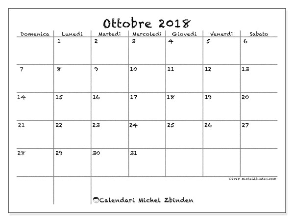 Calendario ottobre 2018 (77DS). Calendario stampabile gratuito.