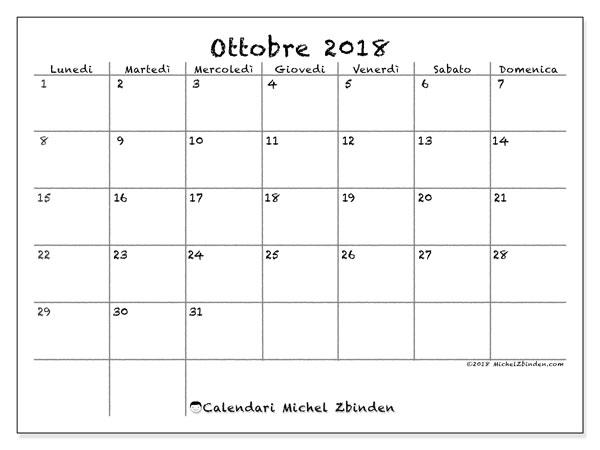 Calendario ottobre 2018 (77LD). Calendario stampabile gratuito.