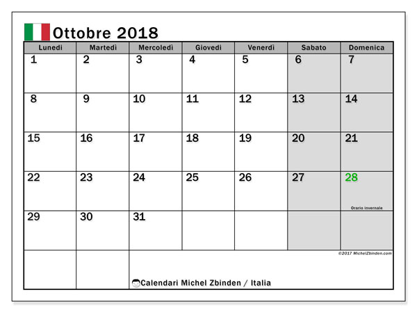 Calendari ottobre 2018, con  in Italia. Calendario per il mese da stampare gratuitamente.