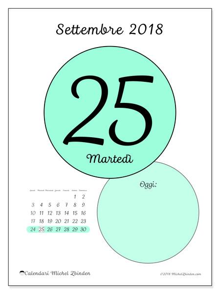 Calendario settembre 2018 (45-25LD). Calendario giornaliero da stampare gratuitamente.