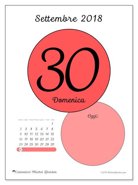 Calendario settembre 2018 (45-30DS). Calendario per il giorno da stampare gratuitamente.