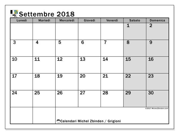 Calendari settembre 2018, con giorini festivi del Cantone dei Grigioni. Calendario per la stampa gratis.