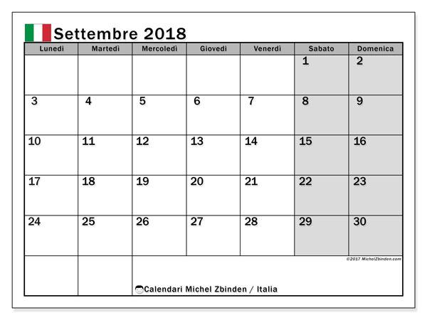 Calendari settembre 2018, con giorni festivi in Italia. Orario da stampare gratis.