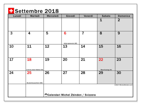 Calendari settembre 2018, con giorini festivi della Svizzera. Calendario gratuito da stampare.