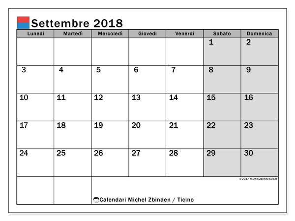 Calendari settembre 2018, con giorini festivi in Ticino. Calendario da stampare gratis.