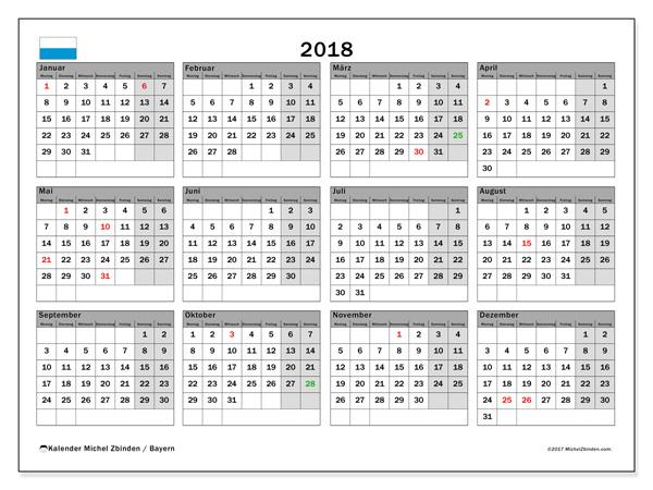 kalender zum ausdrucken 2018 feiertage in bayern deutschland. Black Bedroom Furniture Sets. Home Design Ideas