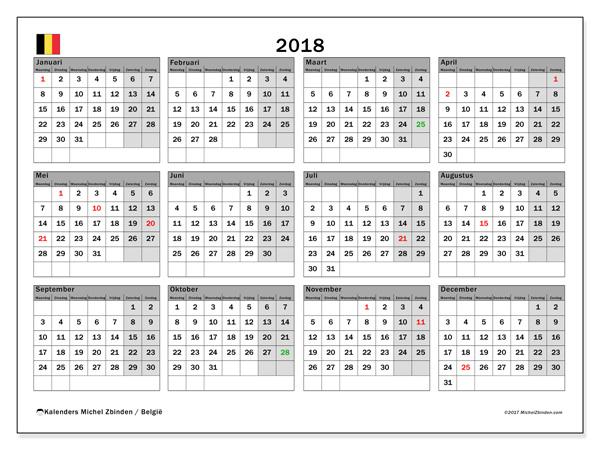 Kalender  2018, Feestdagen in België