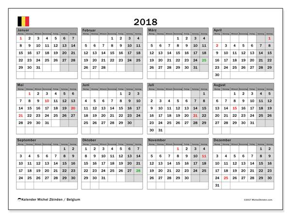 Kalender  2018, Feiertage in Belgien