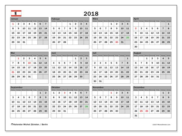 Kalender  2018, Feiertage in Deutschland
