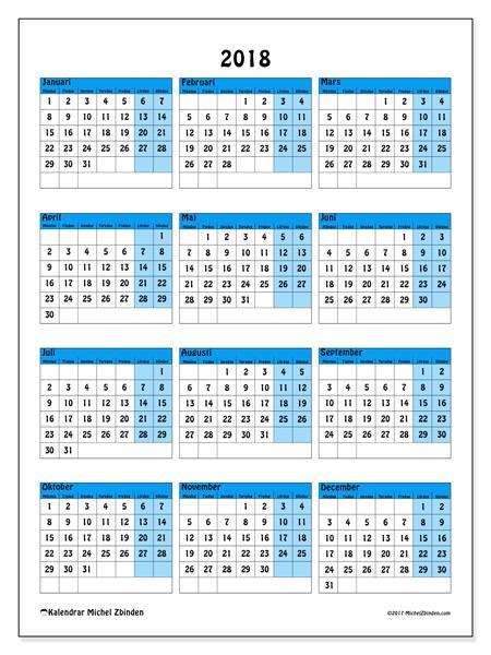 Kalender  2018, Elegius