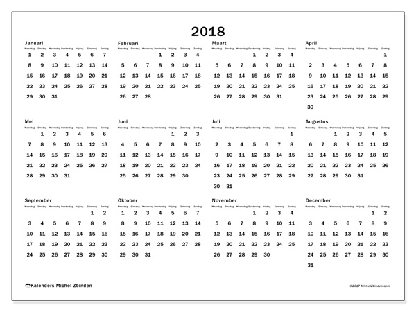 Kalender  2018 - Gregorius (nl)