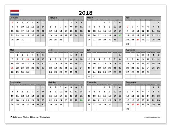 Kalender  2018, Feestdagen in Nederland