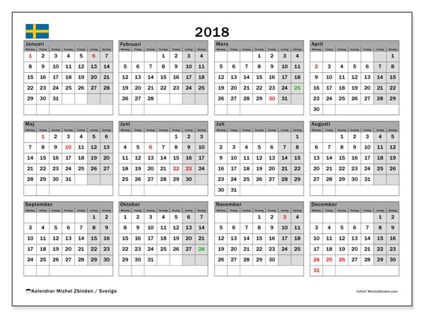 Kalendar 2018 Sverige