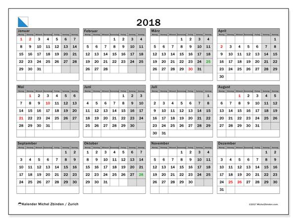 Kalender  2018, Feiertage in Schweiz