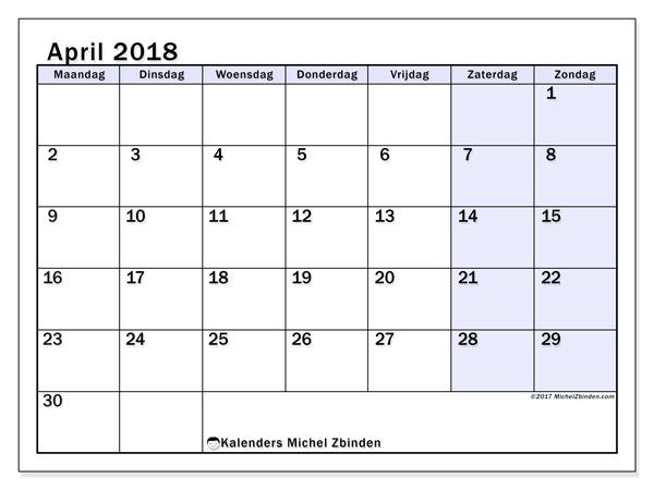 Kalender april 2018, Auxilius
