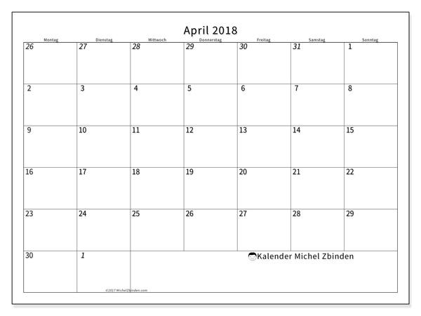Kalender April 2018, Deodatus