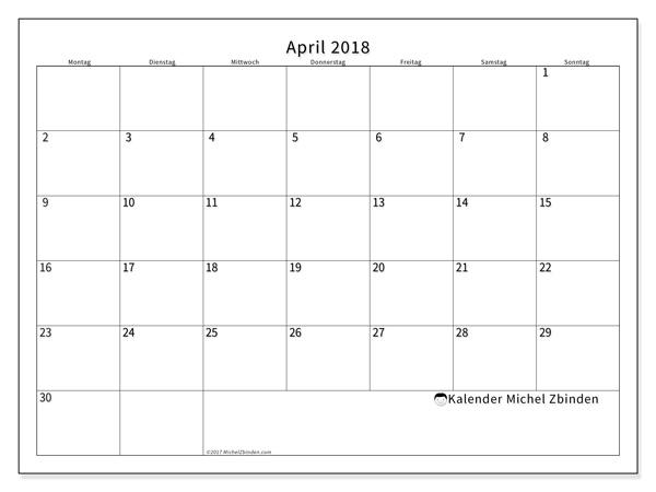 Kalender April 2018, Horus