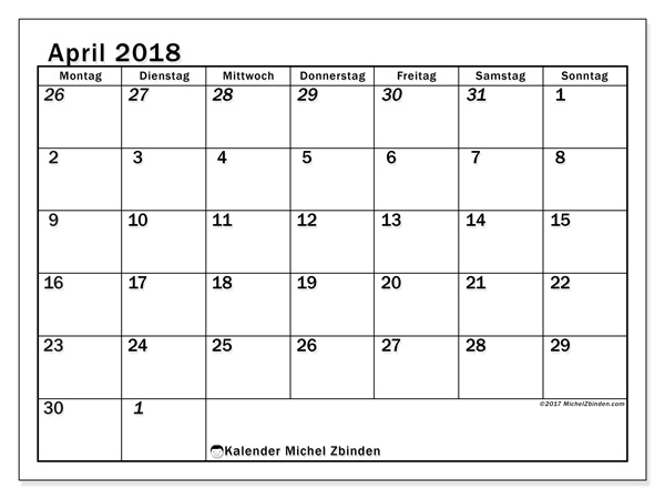Kalender April 2018, Julius