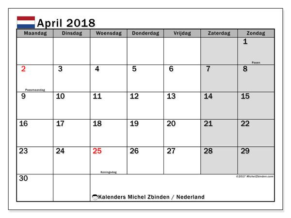 Kalender april 2018, Feestdagen in Nederland