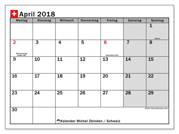 Kalender April 2018, Feiertage in Schweiz
