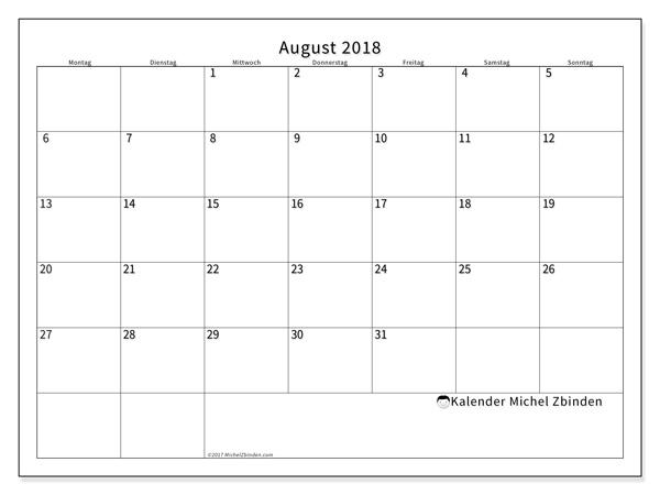 Kalender August 2018, Horus