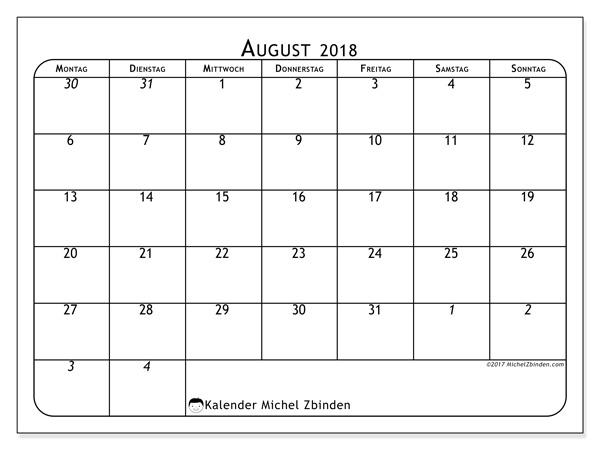 Kalender August 2018, Maximus