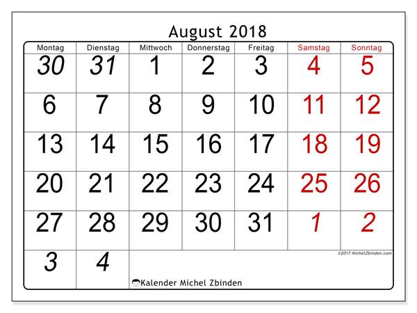 Kalender August 2018, Oseus